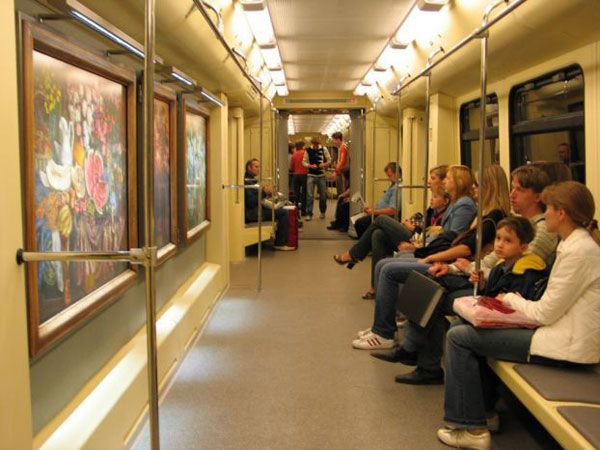 There are special trains. Some with art, rolling galleries. Others are with history exhibitions.